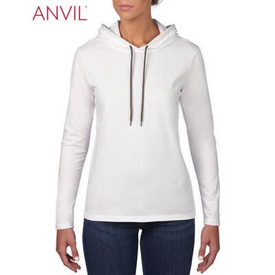 Anvil Womens Lightweight Long Sleeve Hooded Tee White  (887L_WHITE_GILD)